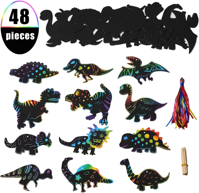 EKKONG Scratch Art Manualidades para Niños, 48PCS Scratch Láminas Dinosaurios para Rascar Creativas Dibujar con 24 Lápices de Madera y 48 Cintas, para Cumpleaños Fiestas, Accesorios Dinosaurios