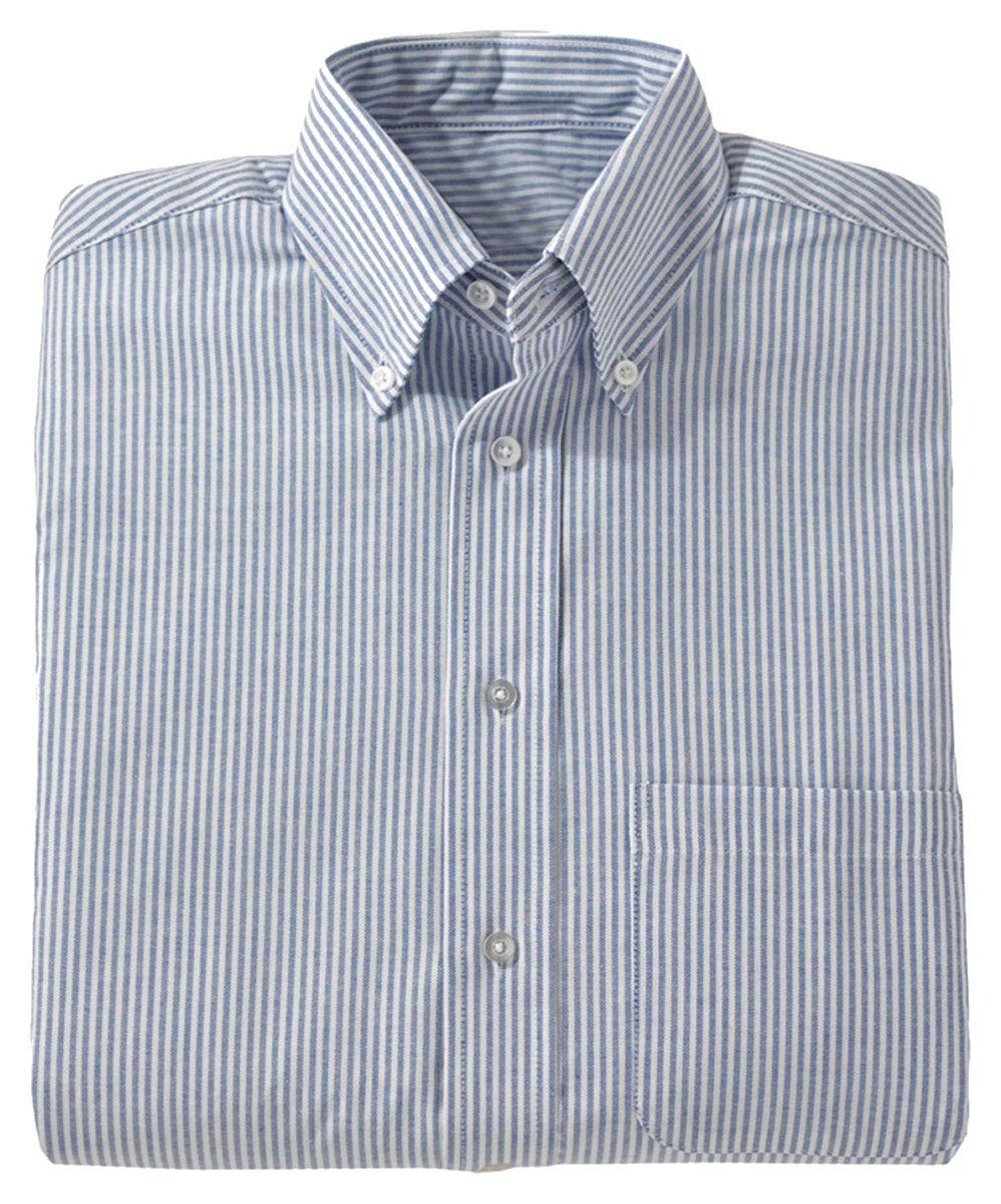 Edwards Men's Short Sleeve Oxford Shirt, BLUE STRIPE, 3XLarge