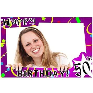 Happy 50th Birthday Selfie Photo Frame Prop Amazoncouk Toys Games