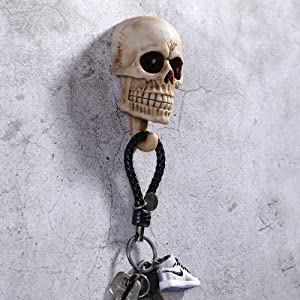 Skull Wall Hooks,Decorative Wall Mounted Key Holder Hat Rack Organizer Bathroom Hanger Home and Kitchen Use Pegs (Pack of 2)
