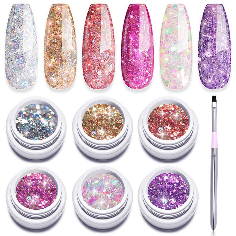 Glitter accent nail polish