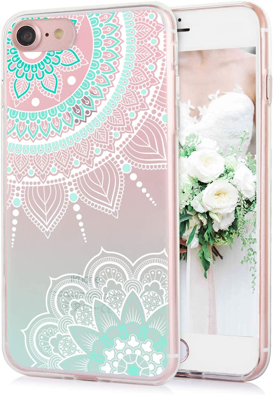 TRENSOM iPhone 8 Mandala Case iPhone 7 Case Floral White Cyan Mandala Pattern Clear Soft TPU Case Shockproof iPhone Cases for Women Girls Clear Lace Paisley Pattern Design