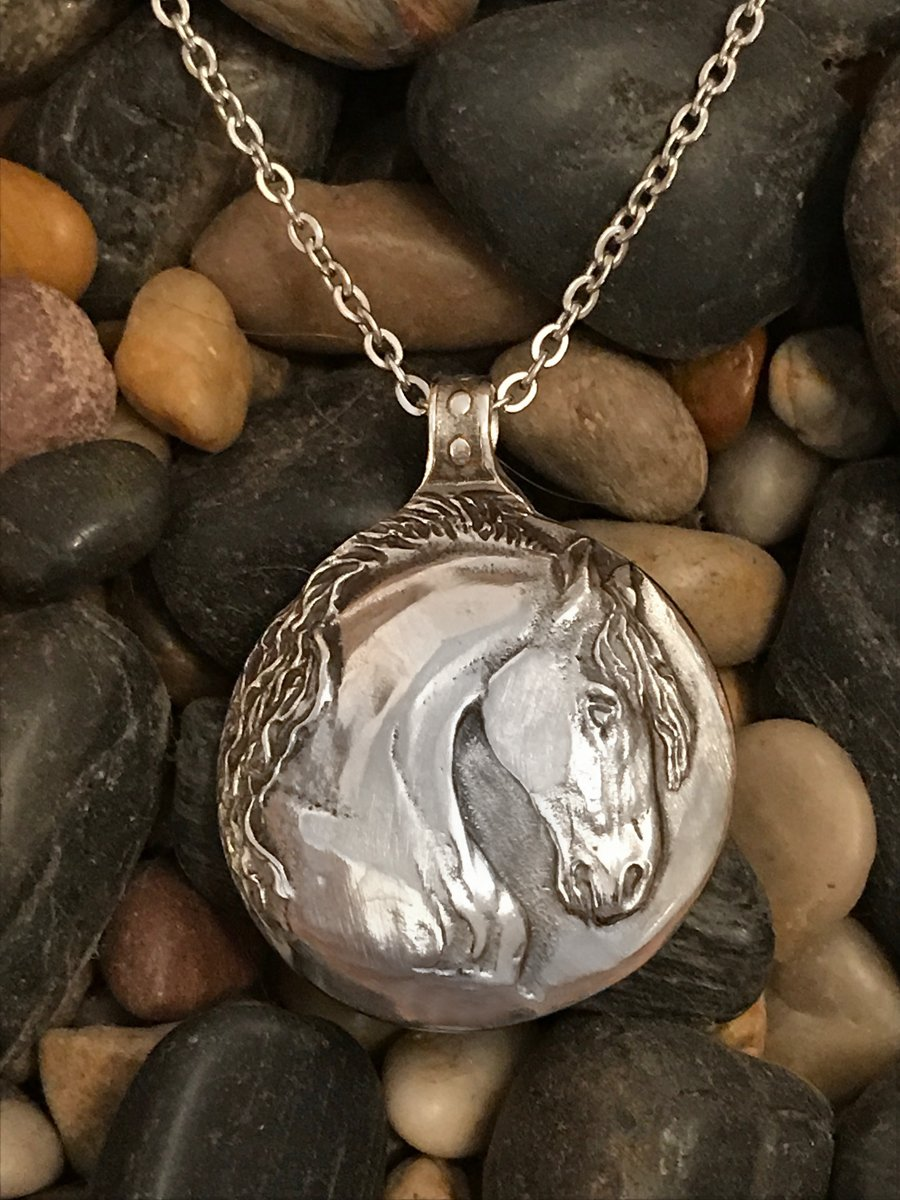 Stallion pendant /& earrings in polished silvery pewter Horse Jewelry Set