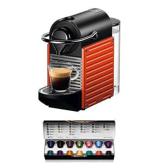 Nespresso Krups Pixie XN3045 - Cafetera monodosis de cápsulas Nespresso, 19 bares, apagado automático, color rojo naranja