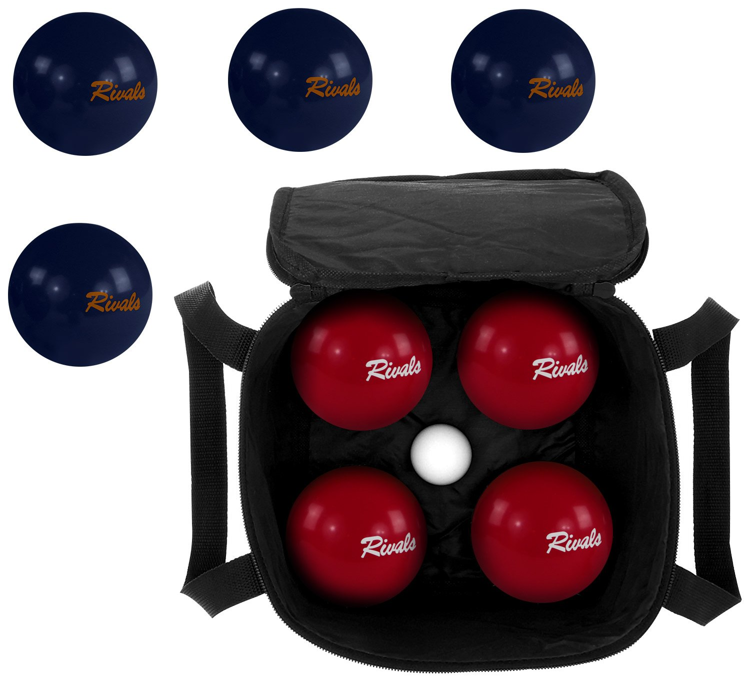 Rivals Bocce Ball Set Includes 4 Crimson and White Bocces Versus 4 Orange and Blue Bocces, 1 Pallino, Measuring Tape, and Carrying Case With Strap | Perfect For The College Fan and Game Day by Titan Performance Products (Image #2)