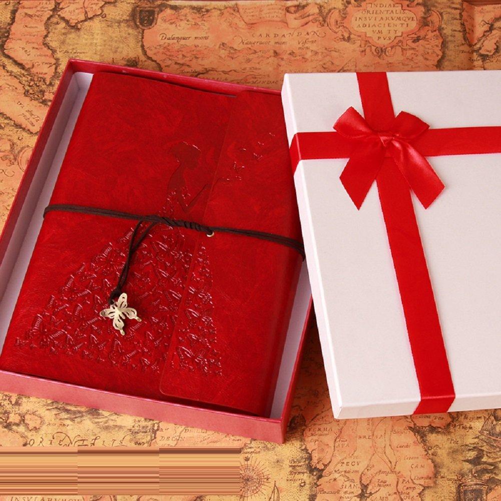 LJ&L Álbum de fotos de cuero alta de alta cuero calidad de la cubierta, estilo retro DIY álbum autoadhesivo, para acomodar 8 pulgadas debajo de los cuadros, de los aniversarios y de los regalos de cumpleaños, caja de regalo,A 9c0771