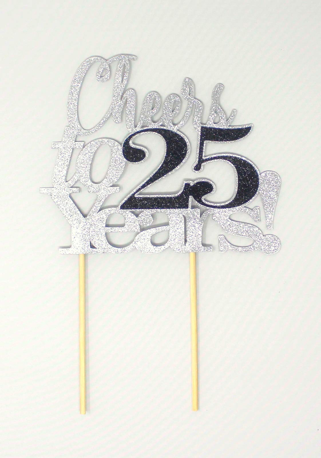 All About Details Cheers to 25 Years! Cake Topper, 1PC, 25th birthday, 25th anniversary, retirement (Silver & Black)