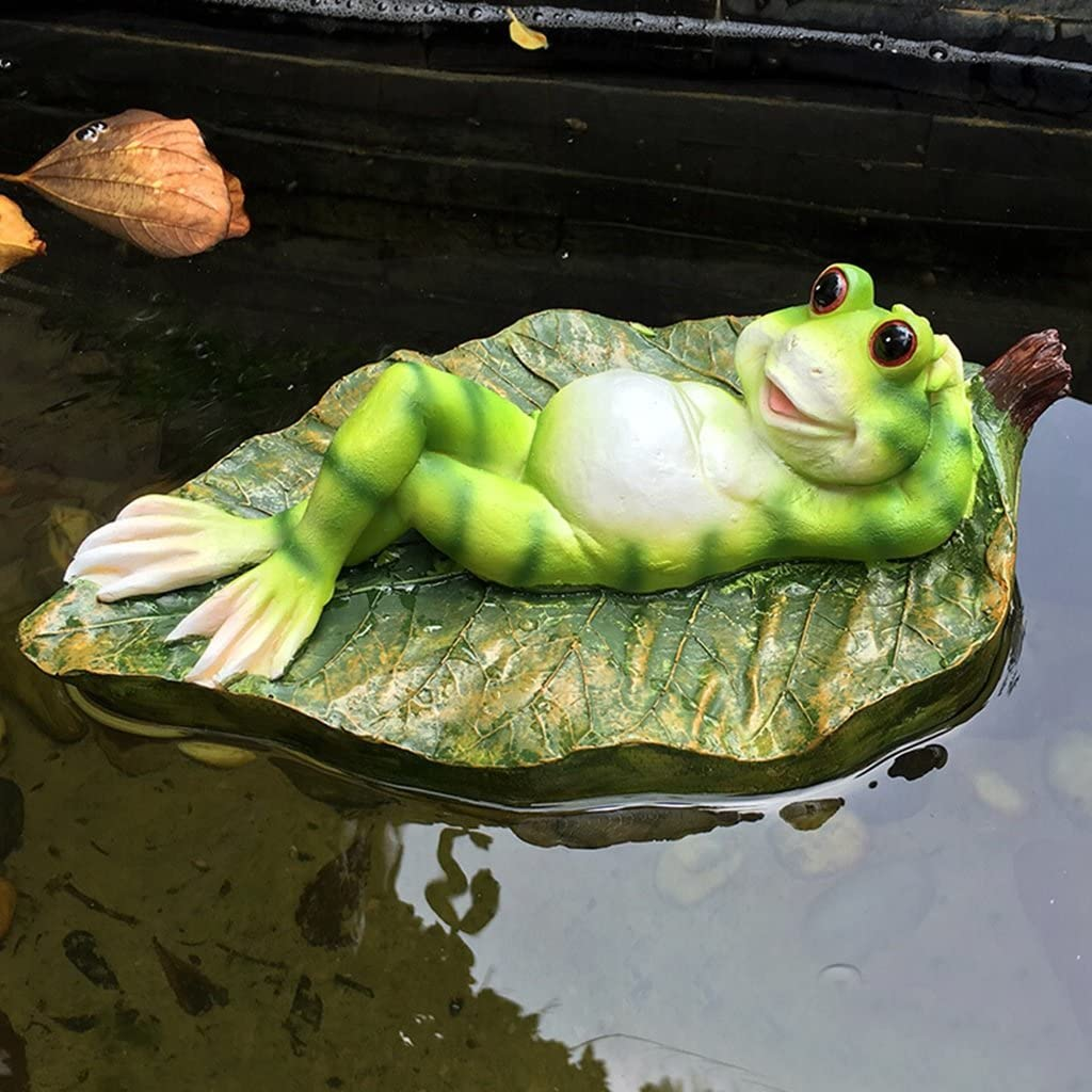 Garden Decoration Resin Statuary Floating Frog Lying On Leaves Small Crafted Figurines for Home Decor, Animal Sculptures Collection H-2020-4-9 (Size : Male)