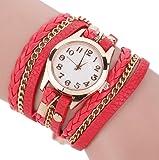Dosige Pulsera del Relojes Retro Estilo Romano Cuarzo Reloj de Pulsera Mujeres Accesorios de Moda(Rojo)