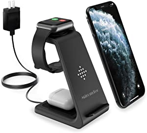 MiromTec Wireless Charger 3in1 Charging Station, Apple Watch Series 6, 5,4,3,2, Airpods pro Fast Qi Wireless Charging Stand, Dock for iPhone, Qi Enabled Phones (with QC 3.0 Adapter)