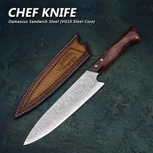 8 VG10 cocinero del cuchillo del acero de Damasco de la ...