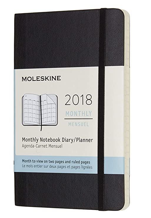 Moleskine Classic 12 Month 2018 Monthly Planner, Soft Cover, Pocket (3.5