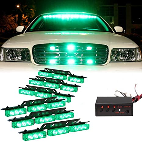 Vehicle Strobe Lights >> Hy 54x Led Emergency Vehicle Strobe Lights Bars Deck Dash Grill Warning Lights Green
