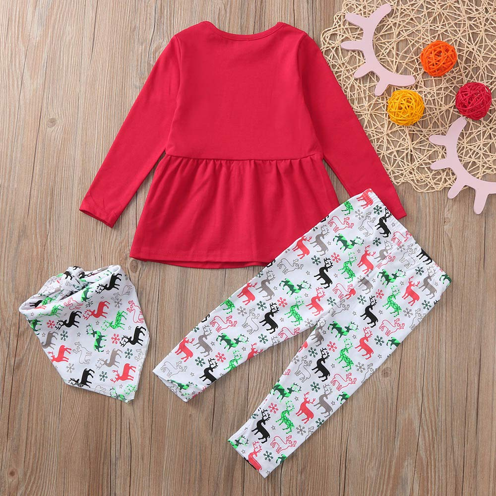 Hatoys Christmas Baby Girls Christmas Xmas Deers Print Dresses Pants Outfits Clothing Set