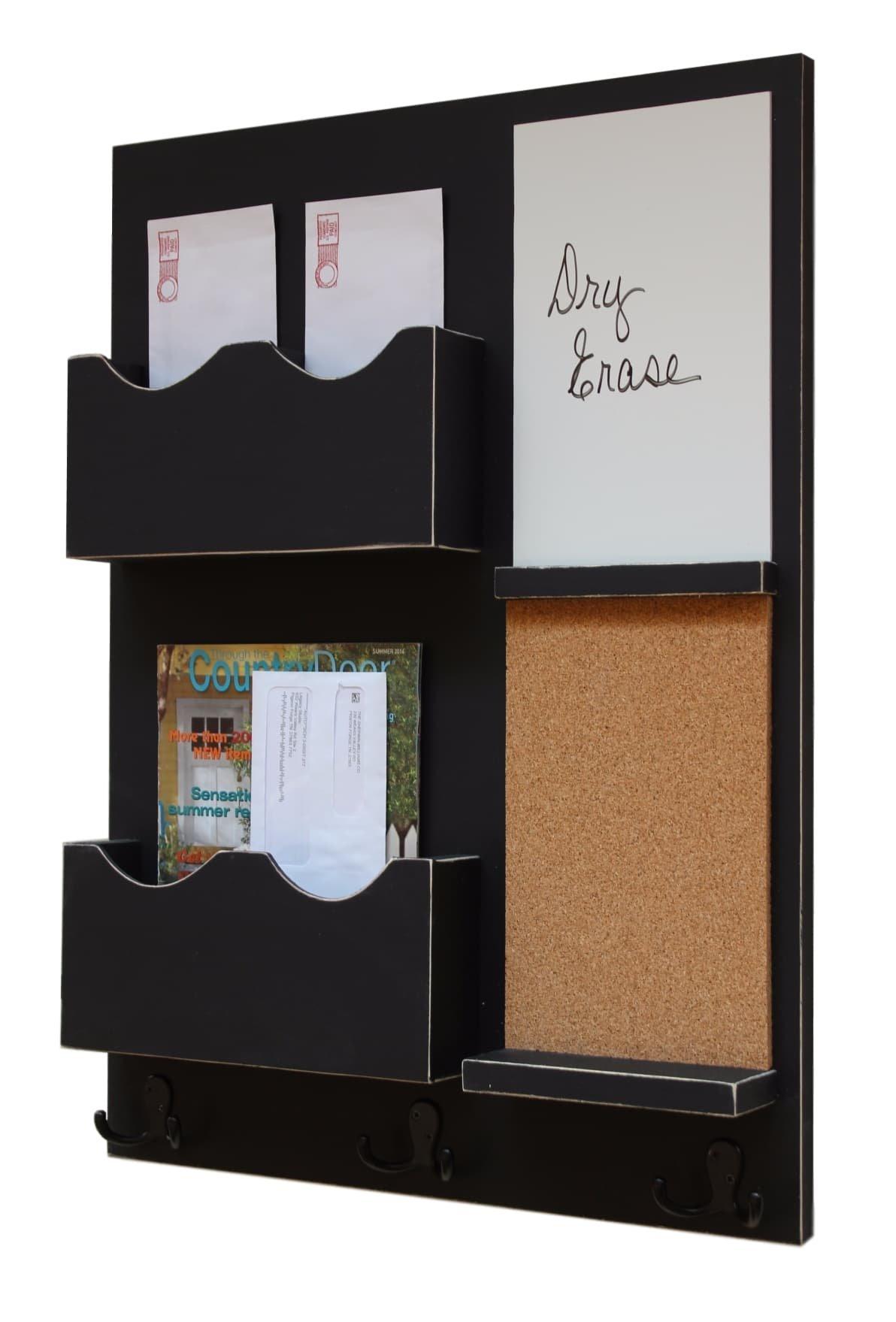 Legacy Studio Decor Mail Organizer Cork Board White Board Coat Hooks Key Hooks Double Mail Slots (Distressed, Black)