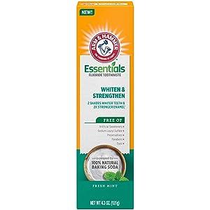 Arm & Hammer Essentials Whiten & Strengthen Fluoride Toothpaste, 4.3 OZ, 4 Pack
