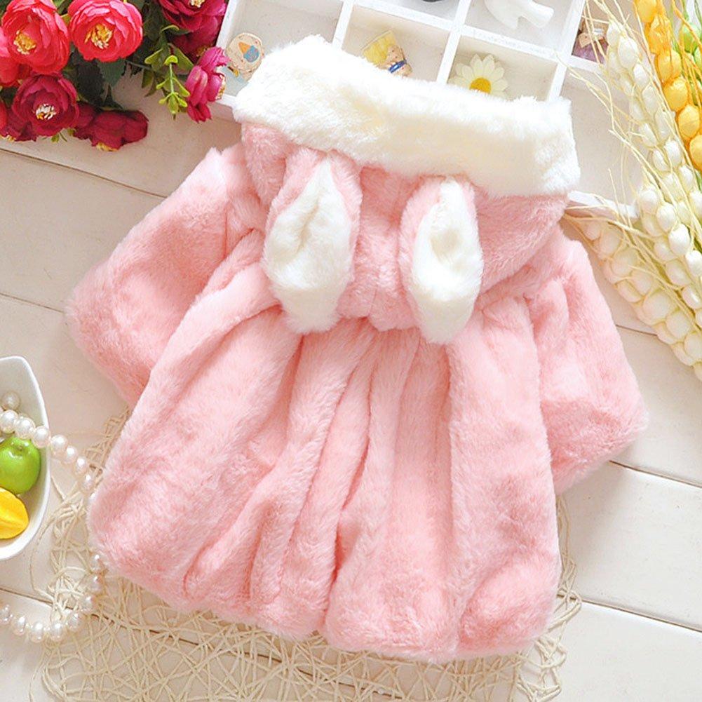 51c7bb8a3 Butterme Baby Kids Infants Toddlers Soft Plush Winter Warm Hooded Cape Cute  Princess Rabbit Ear Cloak larger image