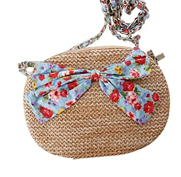 d4110dce5d92 Crossbody Straw Bowknot Bag Floral Wallet Woven Women fashion Weave Simple Beach  Tote