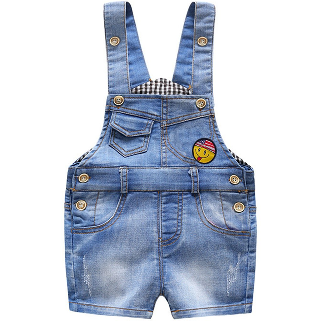 Bebé Peto con Pernera Corta - Pantalones de Peto Vaqueros Niños Niñas Overalls Pantalón Ajustable 9-12 Meses Ltd