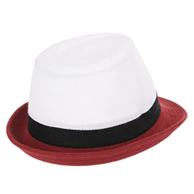 d65f2f28d62 WITHMOONS Linen Fedora Hat Summer Pastel Color Brim Havana Hat LD6372 (Red)   Amazon.co.uk  Clothing