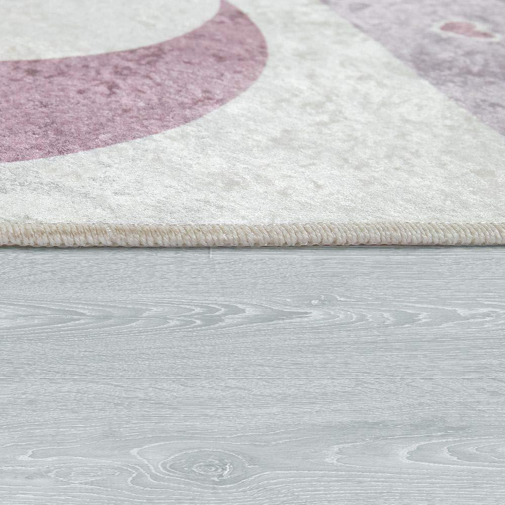Dimension:80x150 cm Paco Home Tapis Chambre Enfant Filles Lavable Curs /Étoiles Lune Inscription Rose Gris