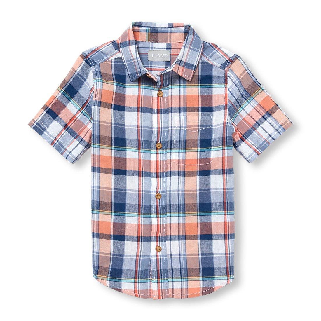 The Children's Place Big Boys' Short Sleeve Button-up Shirt, Jamaican Sunrise 98058, M (7/8)