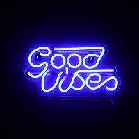 Good Vibes Letrero de neón Letreros de neón LED azules para pared Letreros de neón con decoración USB para dormitorio…