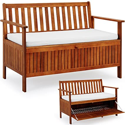 Amazon.com: Banco de jardín 2 plazas de madera con baúl de ...