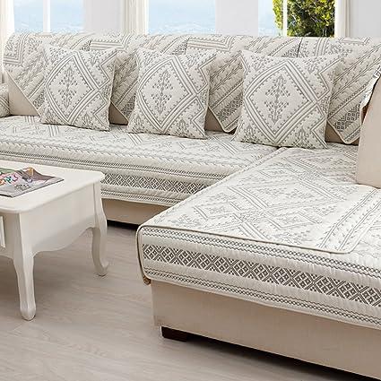 Amazon.com: SAFAJINHH Sofa Covers,Embroidery Cotton Sofa ...