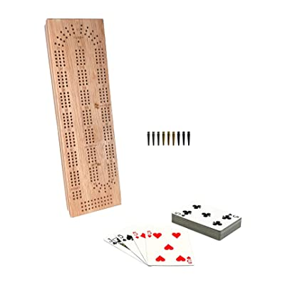 WE Games Cabinet Cribbage Set - Solid Wood Continuous 3 Track Board with Easy Grip Pegs, Cards and Storage Area (Renewed): Toys & Games