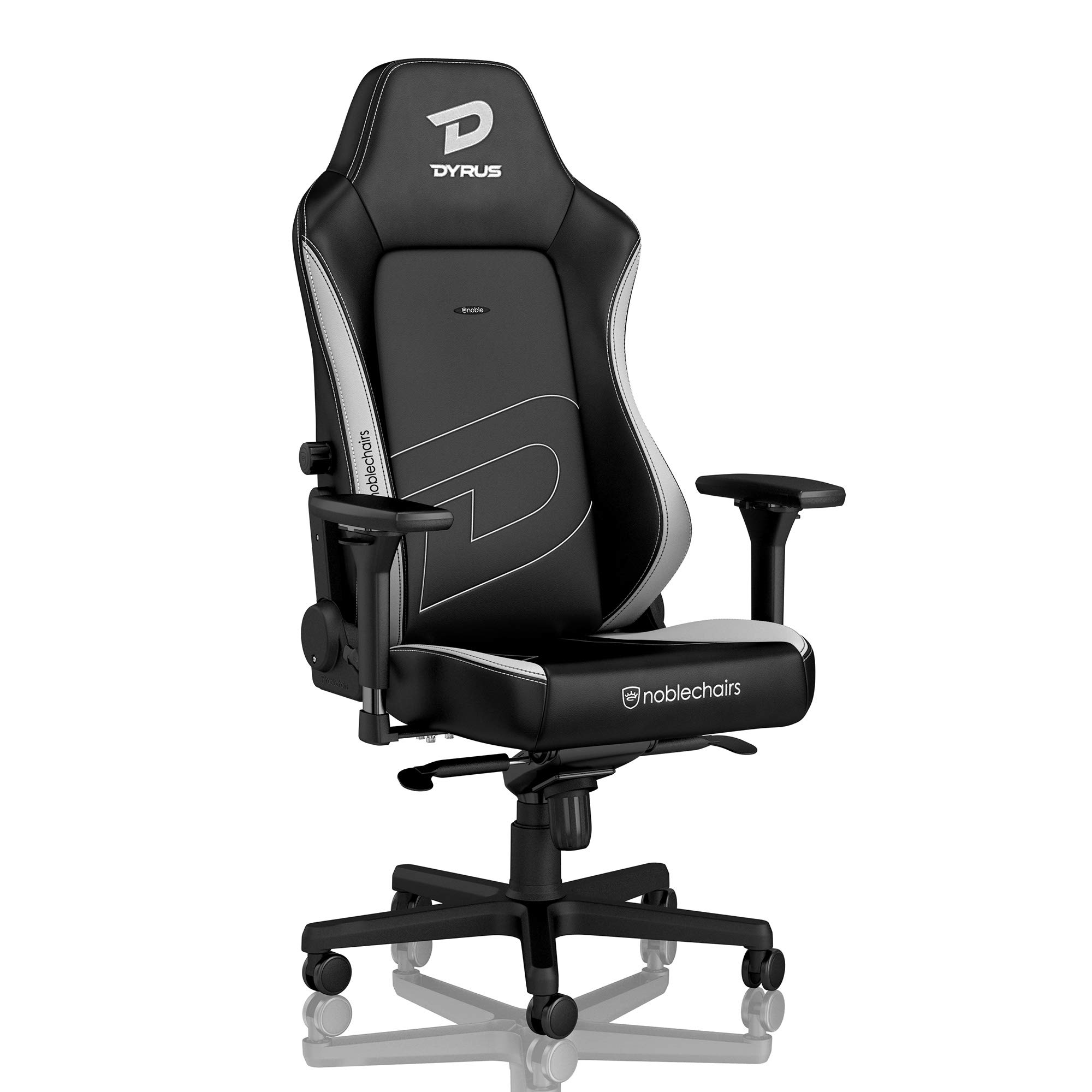noblechairs Hero Gaming Chair - Office Chair - Desk Chair - PU Leather - 330 lbs - 125° Reclinable - Lumbar Support - Racing Seat Design - Dyrus Edition - Black/White by noblechairs