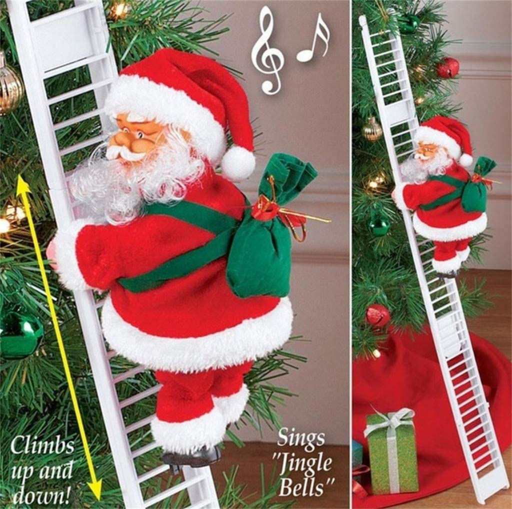dozenla Escalera Eléctrica de Santa Claus con Música, Muñeca de Papá Noel de Navidad Super Escalada Adorno Árbol de Navidad Adorno para Interior Exterior Fiesta Casa Puerta Decoración de Pared \: Amazon.es: