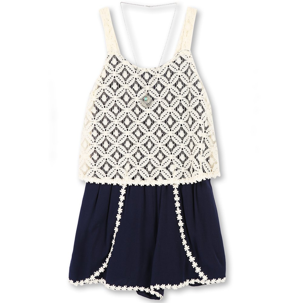 Speechless Big Girls' Lace/Gauze Romper, Navy, M