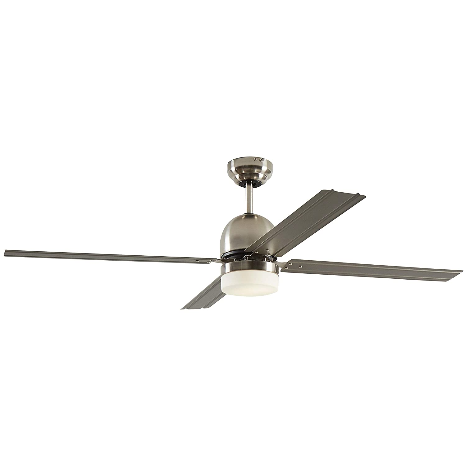Rivet Modern Straight Blade Remote Control Flush Mount Ceiling Fan with Integrated LED Light – 53 x 53 x 16 Inches, Brushed Nickel