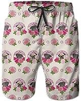 Pug Dog With Flowers Beautiful Men's Shorts Swim Trunks