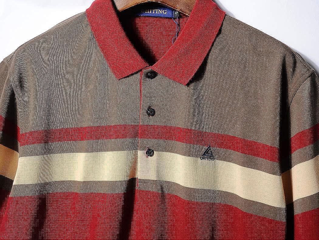 Taobian Mens Short Sleeve Striped Polo Shirts Casual Business Classic Stripe Polo T-Shirts Tees
