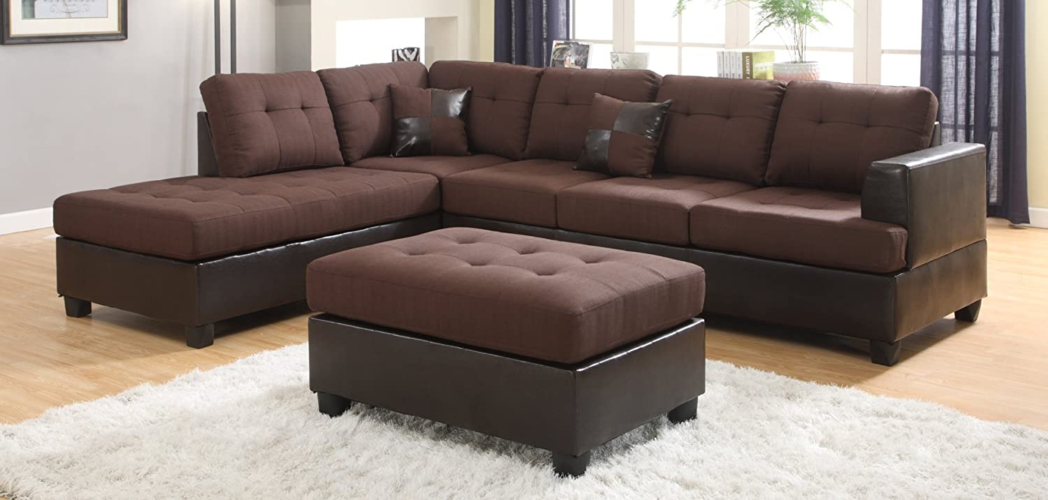 Roundhill Furniture 2 Piece Ellus Fabric and Faux Leather Reversible Sectional Sofa - Brown