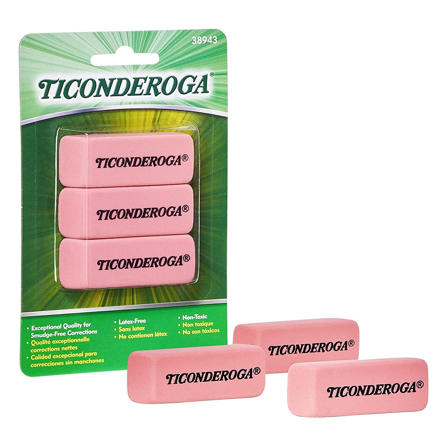 TICONDEROGA Pink Carnation Erasers, Wedge, Medium, Pink, 2-5/16 x 13/16 x 7/17 Inches, 28 Count (28 Count)