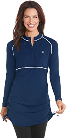 90cc01984a5e6 Image Unavailable. Image not available for. Color  Coolibar UPF 50+ Women s Ruche  Swim Shirt ...