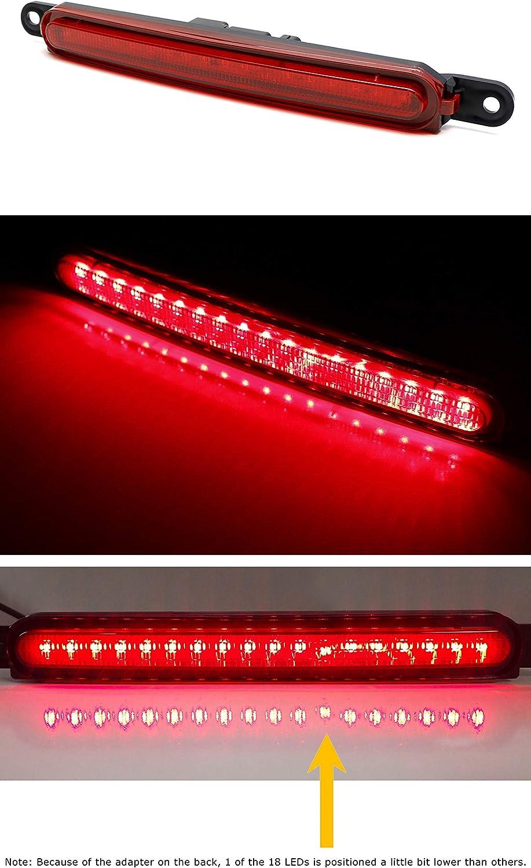 Evolution X Sedan iJDMTOY OEM-Spec Red Lens Full LED Trunk Lid Third Brake Light Bar Assembly Compatible With 2008-2016 Mitsubishi Lancer