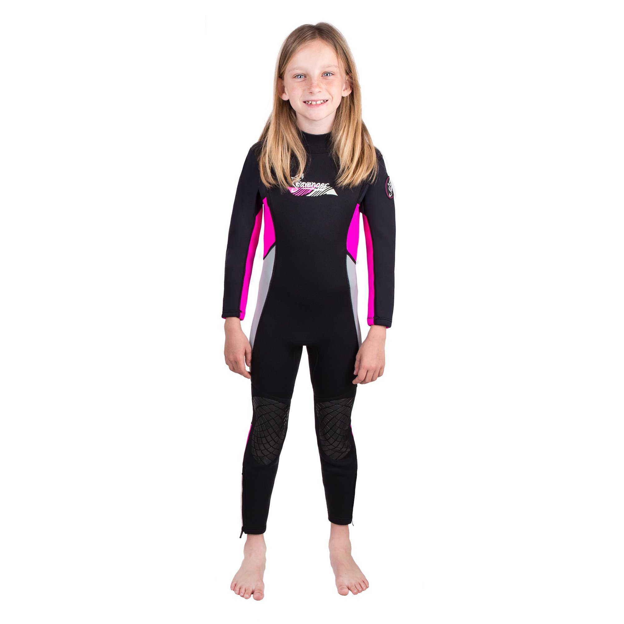 Seavenger Scout 3mm Kids Wetsuit   Full Body Neoprene Suit for Snorkeling, Swimming, Diving (Coral Pink, 4)