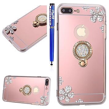 coque iphone 8 plus avec fleurs bague