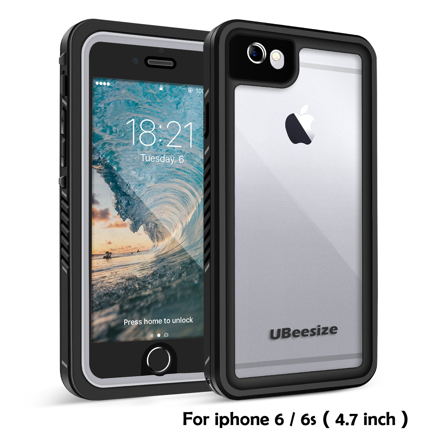Waterproof case for iPhone 6 / 6s, UBeesize Transparent Shockproof Underwater Cover Full Body Protective Drop Resistant Heavy Duty Case for iPhone 6/6s (4.7in)