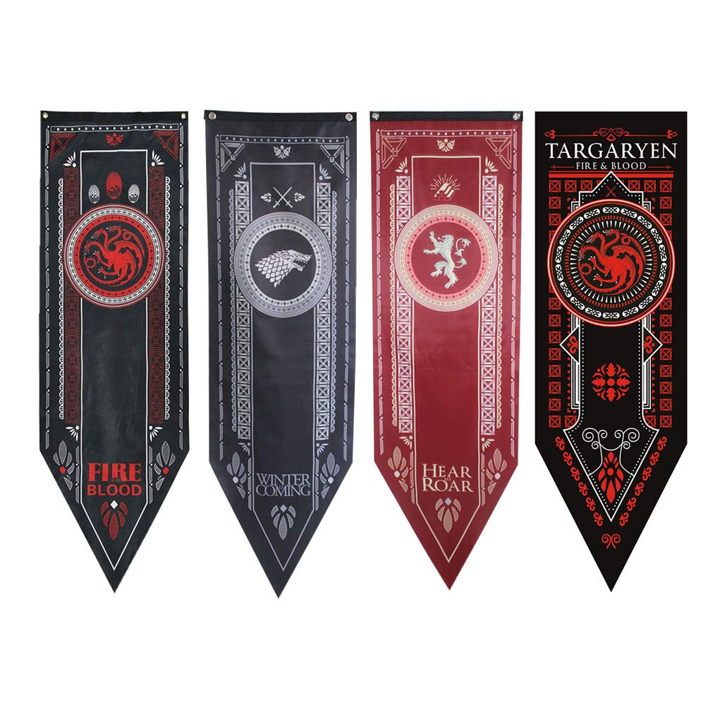 Purple GO2 Game of Thrones House Sigil Tournament Banner (18'' by 60''/45150cm) 4 Pack Bundle by Purple GO2