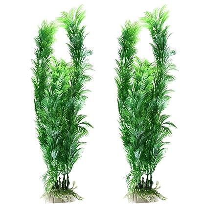 sourcing map 2Pcs de Plástico Suave Verde Planta Hierba Decorativa Acuario Pecera Decoración Ornamento