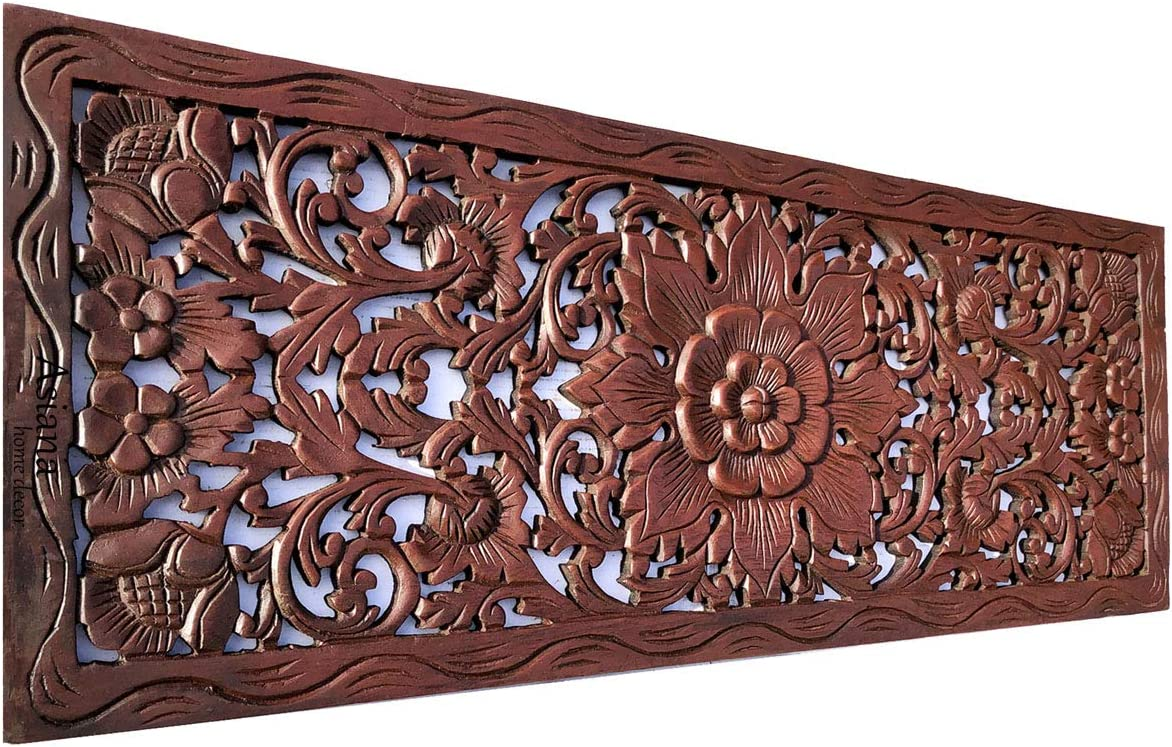 """Bali Tropical Floral Leaf Carved Wood Wall Panel. Size 35.5""""x13.5"""" Asiana Home Decor (Brown-Red Mahogany)"""