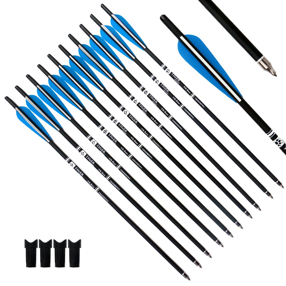 Tiger Archery 20inch Hunting Archery Carbon Arrow Crossbow Bolts With 4'' vanes Feather and Replaced Arrowhead/Tip(Pack of 12)