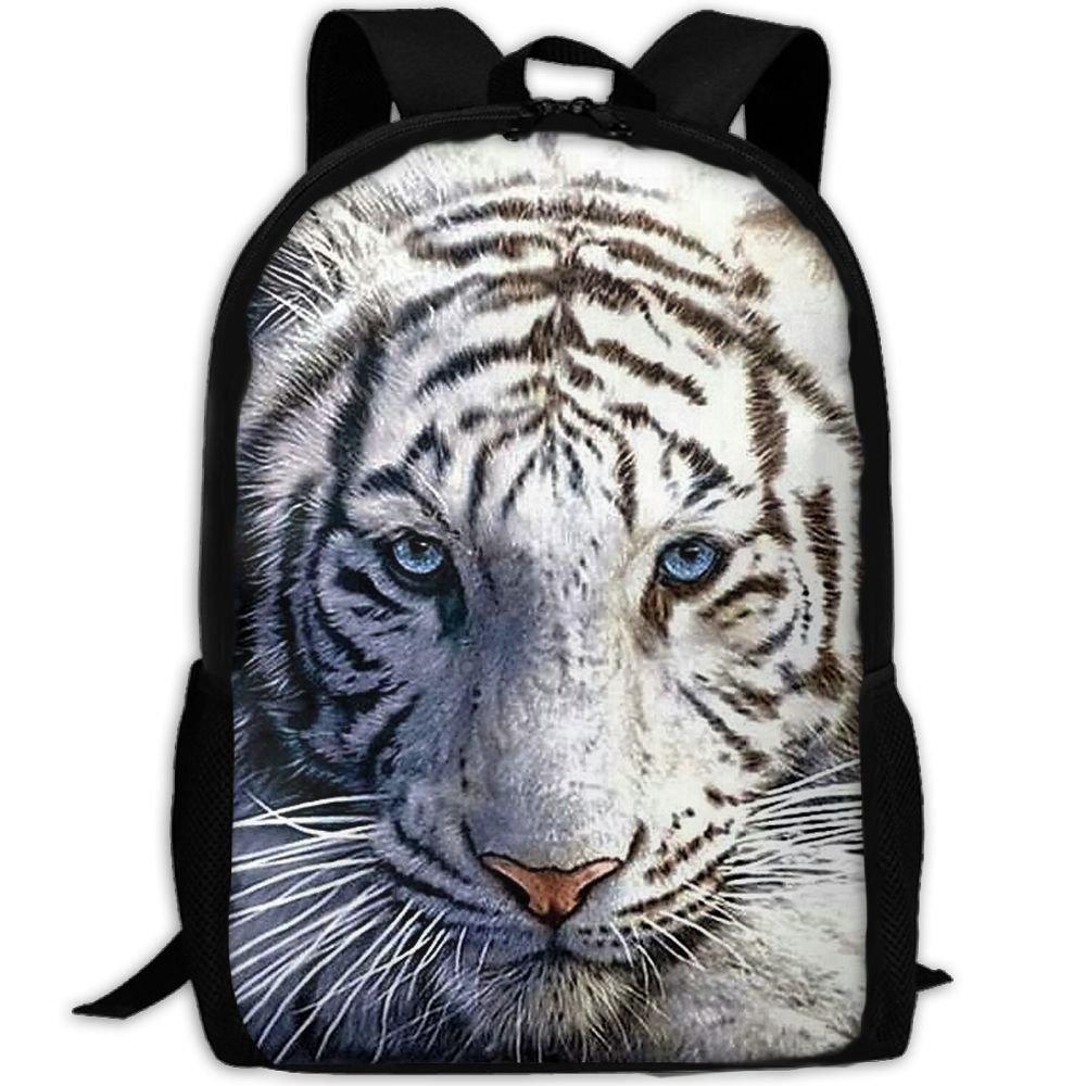YesFutureIs Female Travel Backpack White Tiger King Backpack For
