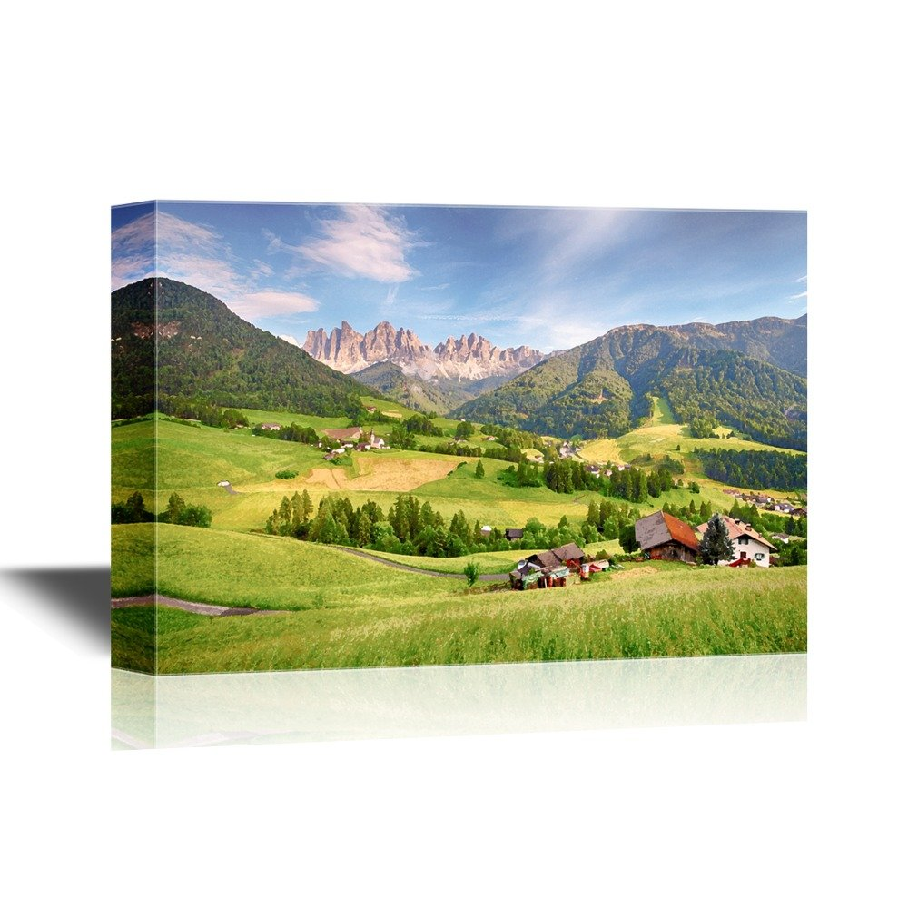 Wall26 art prints framed art canvas prints greeting wall26 watercolor style canvas wall art dolomites alps mountain val di funes gallery wrap modern home decor ready to hang 24x36 inches kristyandbryce Images