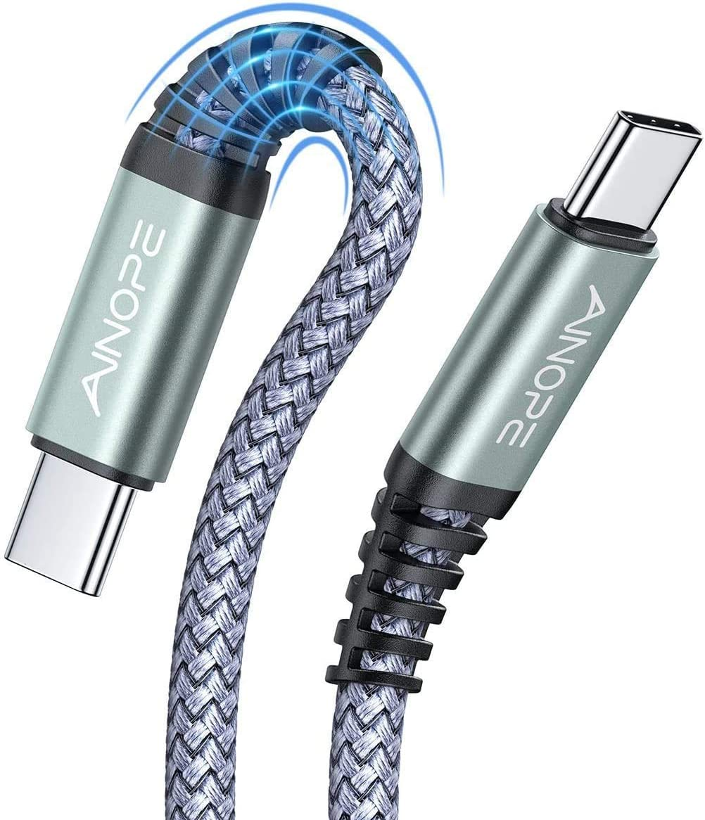 [6.6FT+6.6FT]60W 3A USB C to USB C Fast Charging Cable,AINOPE Anti-Break USB Type C Cord C-C Compatible with Samsung Galaxy S20 S10 Note 10,iPad pro 2018,Google Pixel 4 3 2 XL,MacBook Air,Nintendo